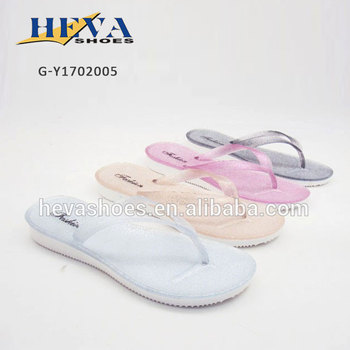 05c4084882b7f Simple Jelly Glitter Flip Flops Flat Crystal Thong Sandals for Summer Beach  Women