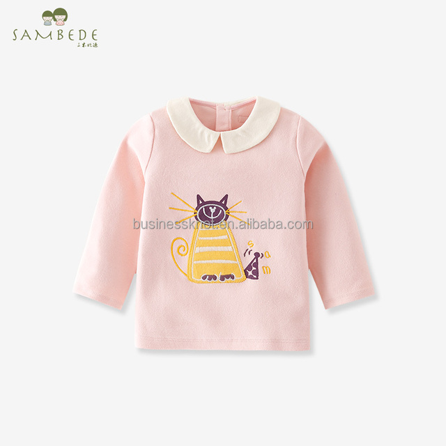 SAMBEDE Blouses Baby Girls Long Sleeved Embroidered Cat T-shirt Girls Clothing Tops SM7D30669