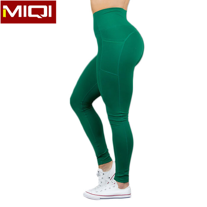 Wholesale High Impact Ladies Girls Workout Tights Bulk Green Pocketed High Waist Sport Yoga Leggings