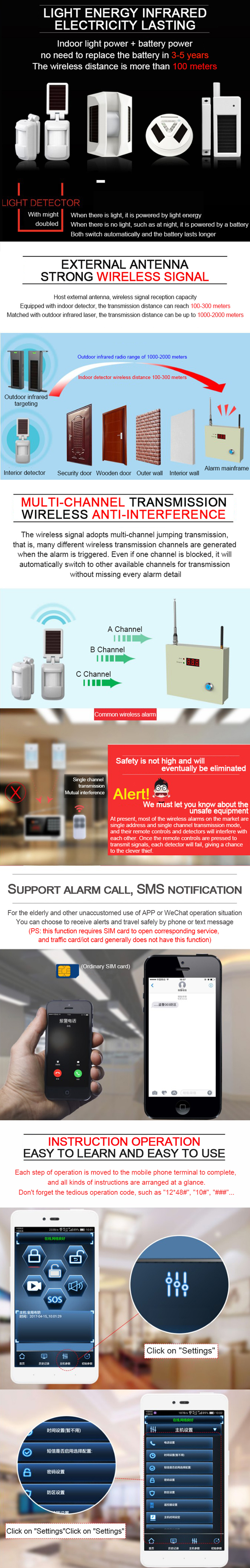 Household store burglar alarm infrared remote anti-theft wireless GPRS intelligent alarm host security system