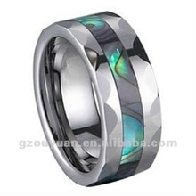 Tungsten Carbide Ring Fancy Men Abalone Shell Inlay, USA popular tungsten carbide ring, 2012 China factory directly rings