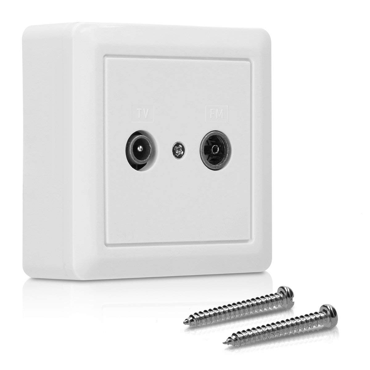 kwmobile Double TV/FM Wall Socket - Twin TV Aerial Socket Coaxial Connector for Television and Radio - Dual 2 Gang Aerial Wall Plug Plate in White