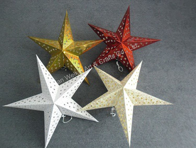 Led light paper star ornaments for Christmas
