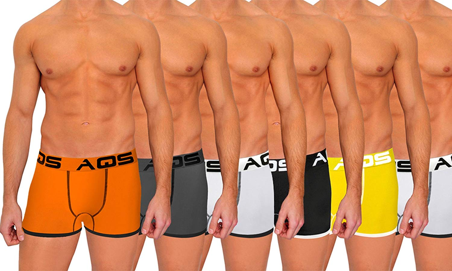 aqs Men's Threaded/Fitted Boxer Briefs - Org/Blk, Gry/Blk, WHT/Blk + YLW/WHT, Blk/WHT, WHT/Blk - 6-Pack