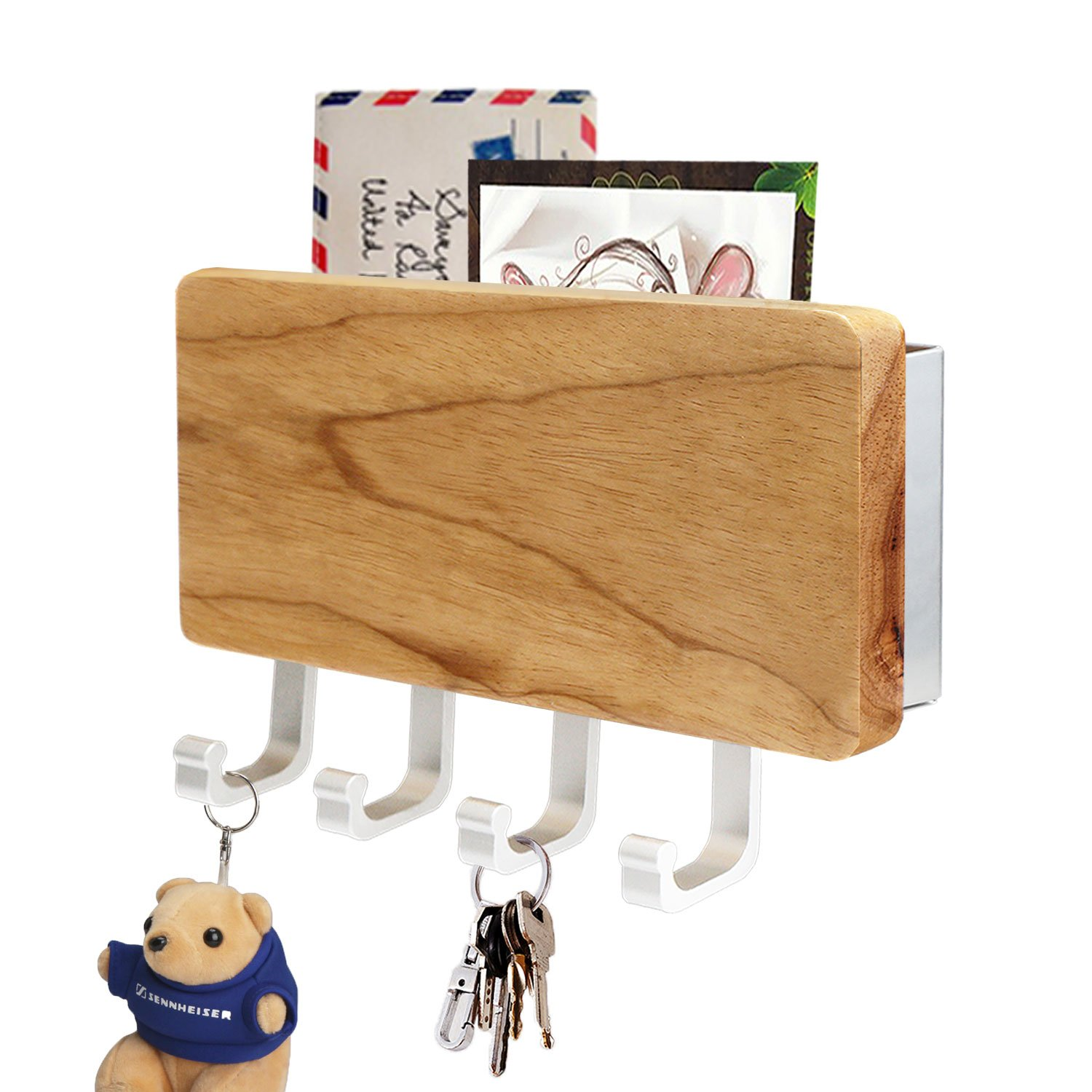 Ordinaire Get Quotations · Segarty Wooden Key Rack Organizer With 4 Hooks, Mail  Letter Holder Wall Mounted Perfect For