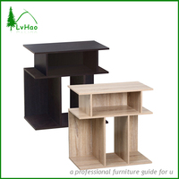 Sturdy cheap price wooden sofa table end table with display shelves