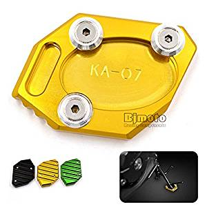 BJ Global Motorcycle Kickstand CNC Aluminum Side Stand Plate Enlarge For Kawasaki Ninja300 ZX300R 13-15 Ninja250 ZX250R 13-16 (Gold)