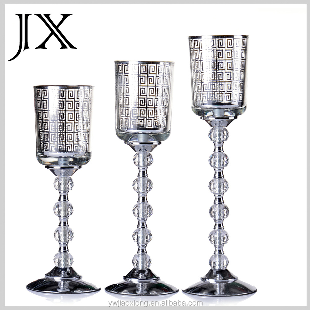 Glass Silver Pattern Cup Candle Holder Table Wedding Crystal Candelabra