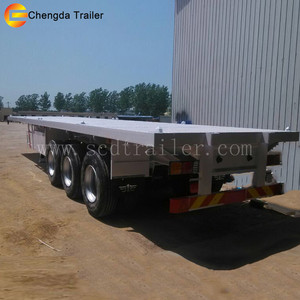2018 Widely Used 3axles 60ton Flatbed Semi Trailer 20FT 40FT Chassis Container Truck For Sale