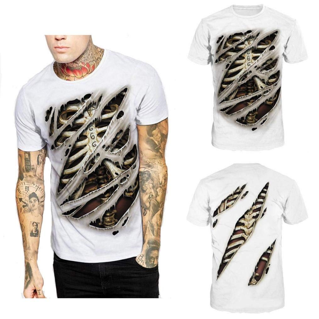 0dbfd7496 Get Quotations · Pervobs Men Shirts Fashion Men's Short Sleeve Shirts Casual  Loose Ripped Hole Short Sleeve T-