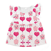 latest new fashion baby clothes cute animal pattern tunic top wholesale