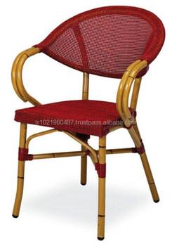 Aluminum Rattan Bamboo Mesh Textile Outdoor Chair