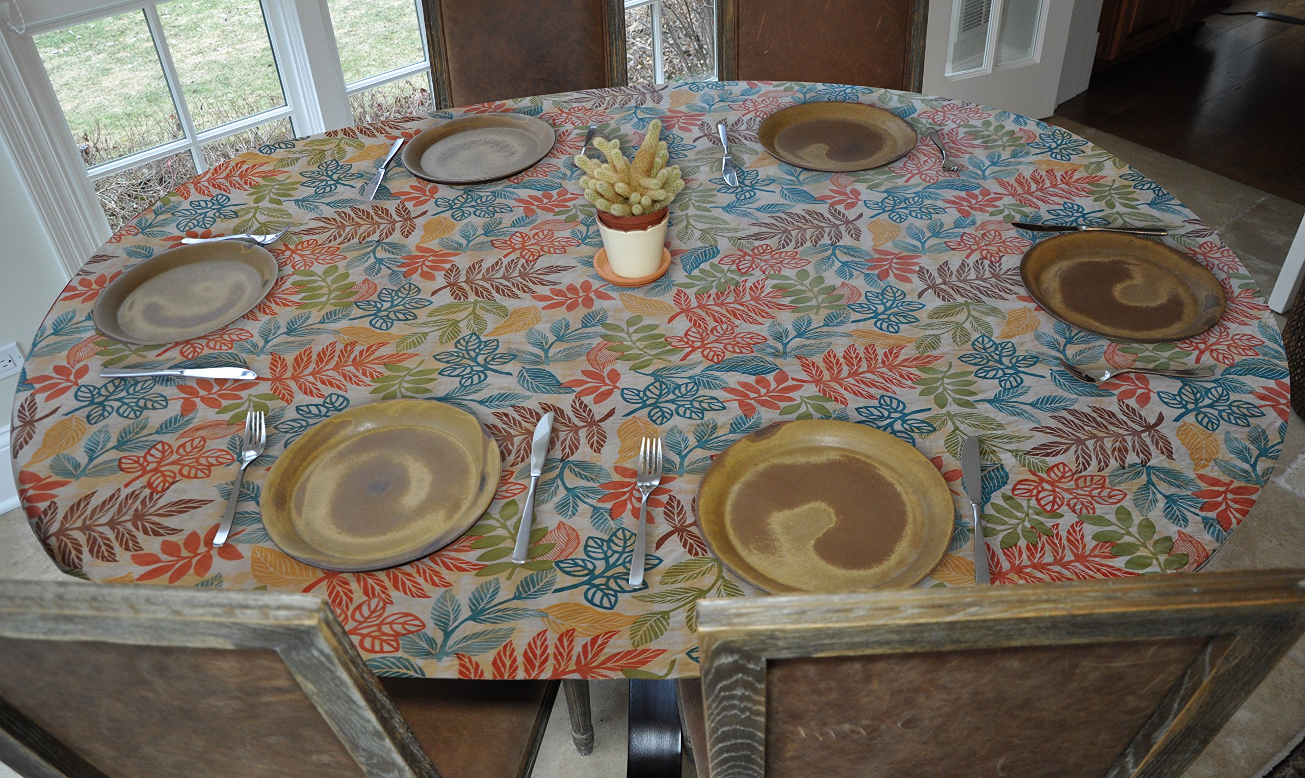 "Elastic Edged Flannel Backed Vinyl Fitted Table Cover - BOTANICAL Pattern - Oblong/Oval - Fits tables up to 48"" x 68"""