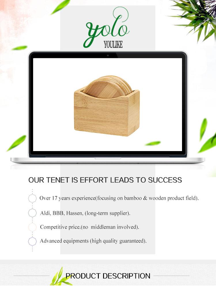 Wholesale 5 Piece Round Bamboo Wood Coaster Set With Caddy Holder Buy Wood Coaster Set Product On Alibaba Com