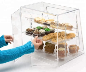 Bakery Display Storage Case transparent acrylic bread display rack with plexiglass and PMMA