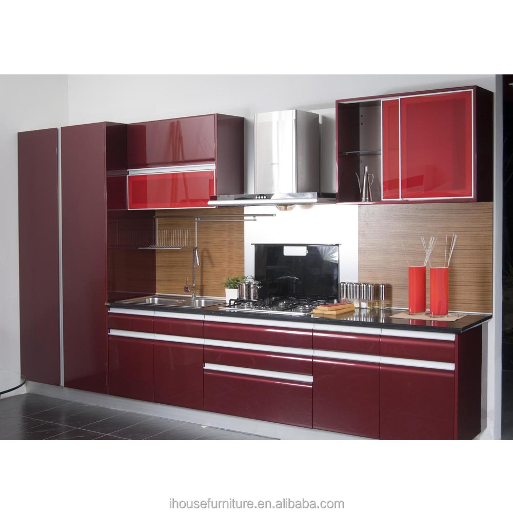 Modern Dark Red Piano Lacquer Custom Kitchen Cabinets/Kitchen Wall Cabinets With Glass Doors