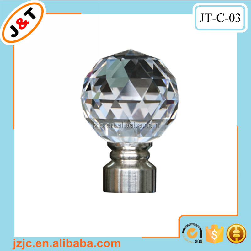 crystal glass finials for curtain rods, crystal glass finials for