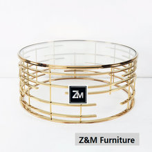 customized Gold round Steel Glass Coffee Table