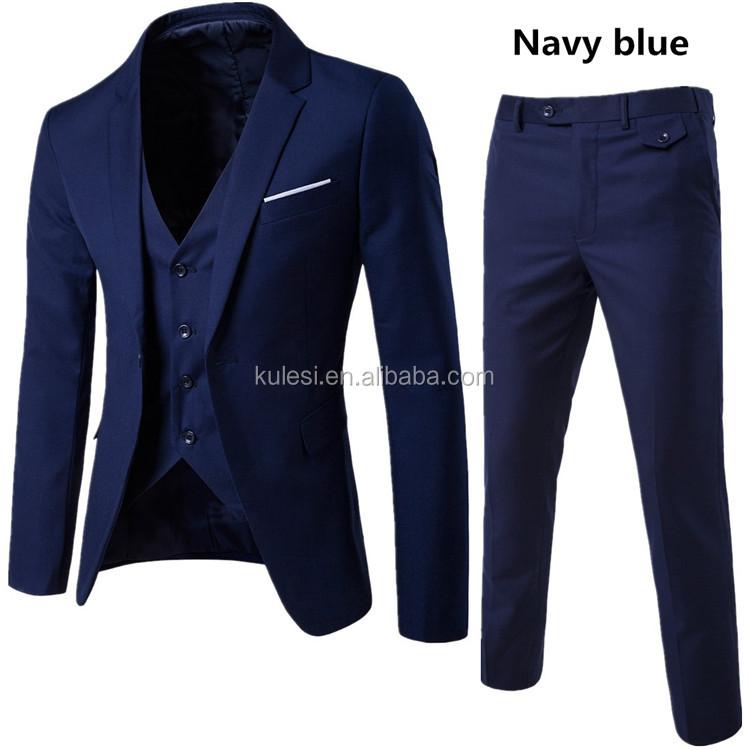 2018 best selling wedding business formal deep navy blue latest design 3  piece coat pant men suit baa0ec252d63