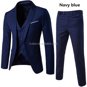306b9dae81bb 2018 best selling wedding business formal deep navy blue latest design 3  piece coat pant men