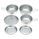 Camping Cooking Set Aluminum 11.5/12/13.5cm Outdoor Camping Pots Hiking Cookware Tableware Small Picnic Cookware + Lid +2 Plates