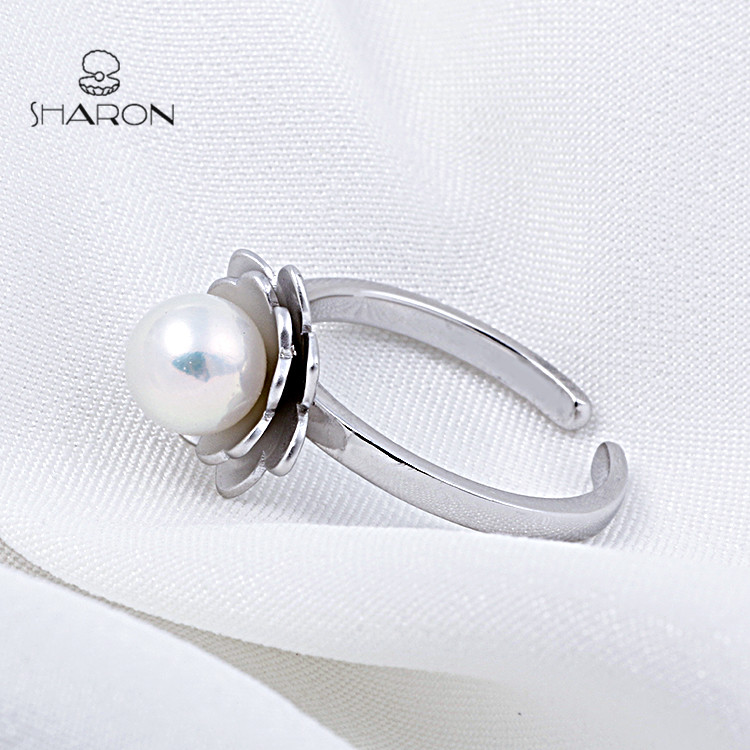 2019 Fashion Jewelry Customized Lotus Adjustable Sterling Silver Pearl Ring Settings