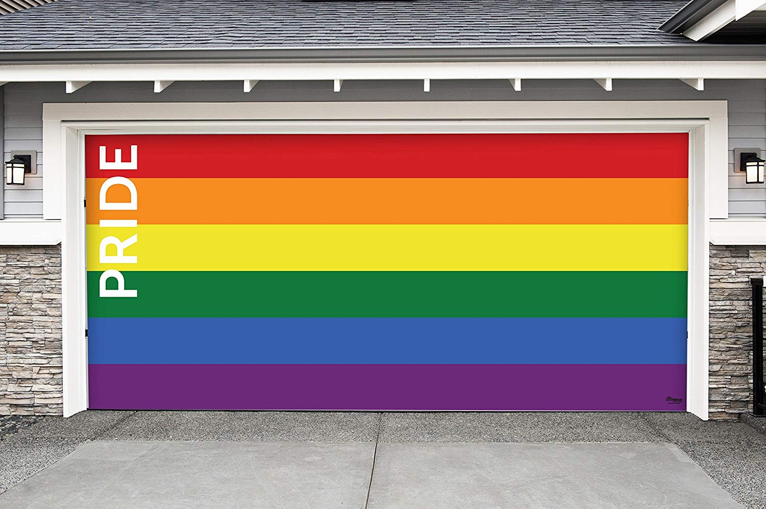 Victory Corps Pride Text - Outdoor Pride LGBT Garage Door Banner Mural Sign Décor 7'x 16' Car Garage - The Original Holiday Garage Door Banner Decor