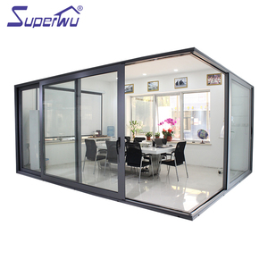 Superwu double glass aluminium corner sliding door used interior or exterior