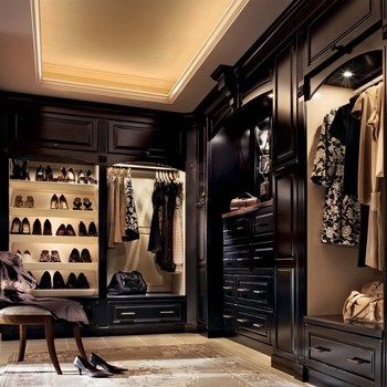 Dark Color Custom Walk In Wardrobe Closet