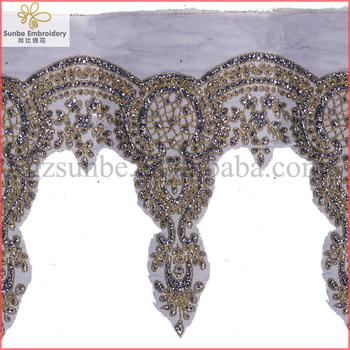 Beaded Sequin Embroidery Lace Trim Lace Motif Applique Tape Lace