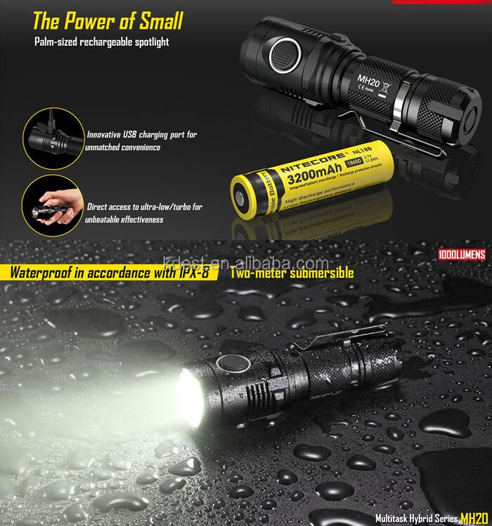 New Arrival 1000 Lumen Rechargeable Tactical Nitecore Mh20 Led ...