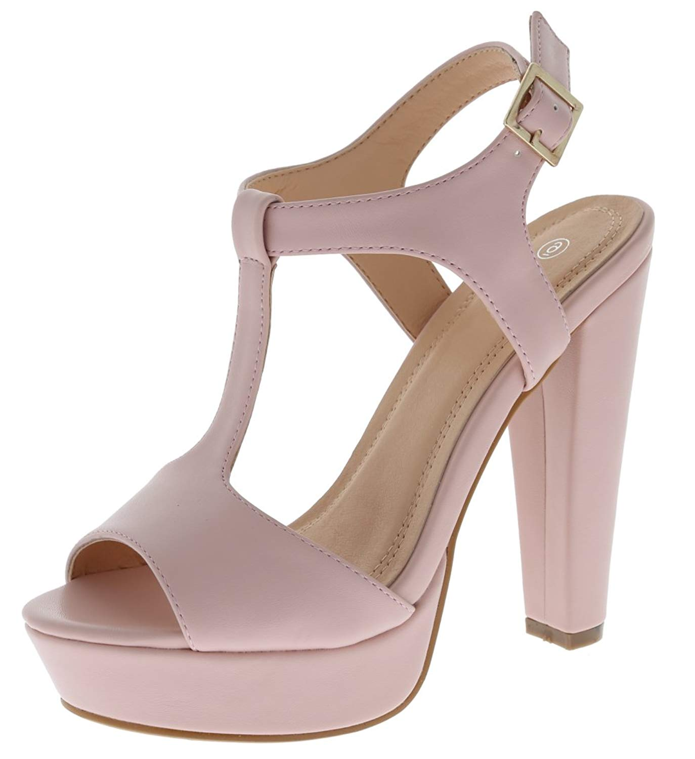 fe6c7555c3f1 Get Quotations · Cambridge Select Women s Open Toe T-Strap Buckled Ankle  Strap Chunky Platform High Heel Sandal
