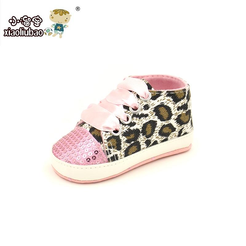 2016 Girls Baby Shoes baby Cack Leopard first walker kids prewalker shoes girls bowtie toddler shoes Paillette Lace-up CuteKids