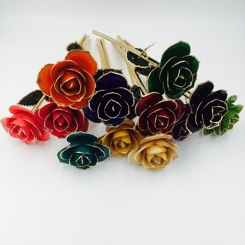 Cangnan Metal <strong>crafts</strong> 30cm 24K gold dipped real rose for home decoration and wedding gifts