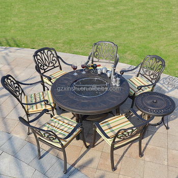 Derong Garden Furniture Leisure Patio Dining Set Cast Aluminum Barbecue  Grill Table