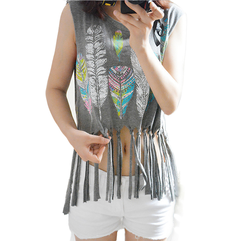 New Design 2015 Style Summer Colorful Feathers Printing Tassel Hem O-Neck T-Shirts Vest Loose Casual Wear Women Tee