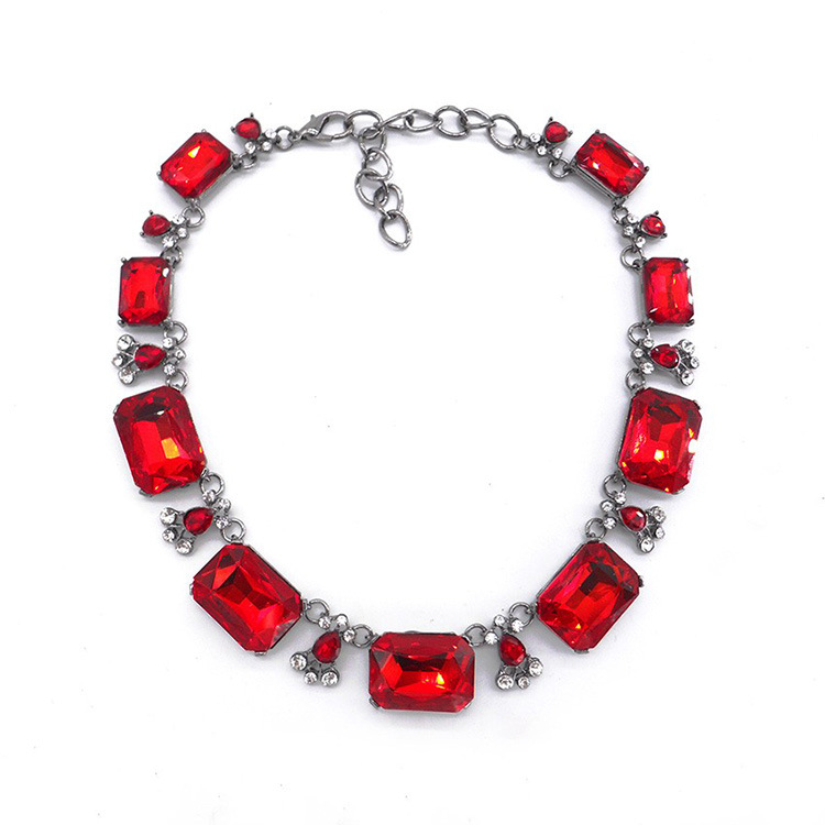 Fashion Popular Red Gemstone Choker Square Crystal With Diamond Necklace