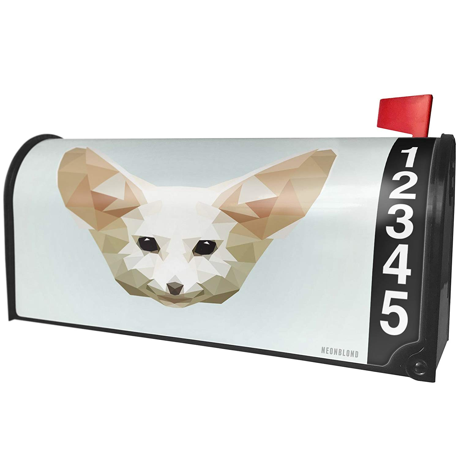 NEONBLOND Low Poly Animals Modern design Fennec Fox Magnetic Mailbox Cover Custom Numbers