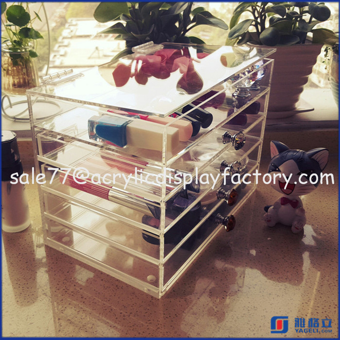 5 Drawer Acrylic Makeup Organizer, Lucite Comestic Organizer, Perspex Nailpolish Lipstick and Brush Display Holder Stand
