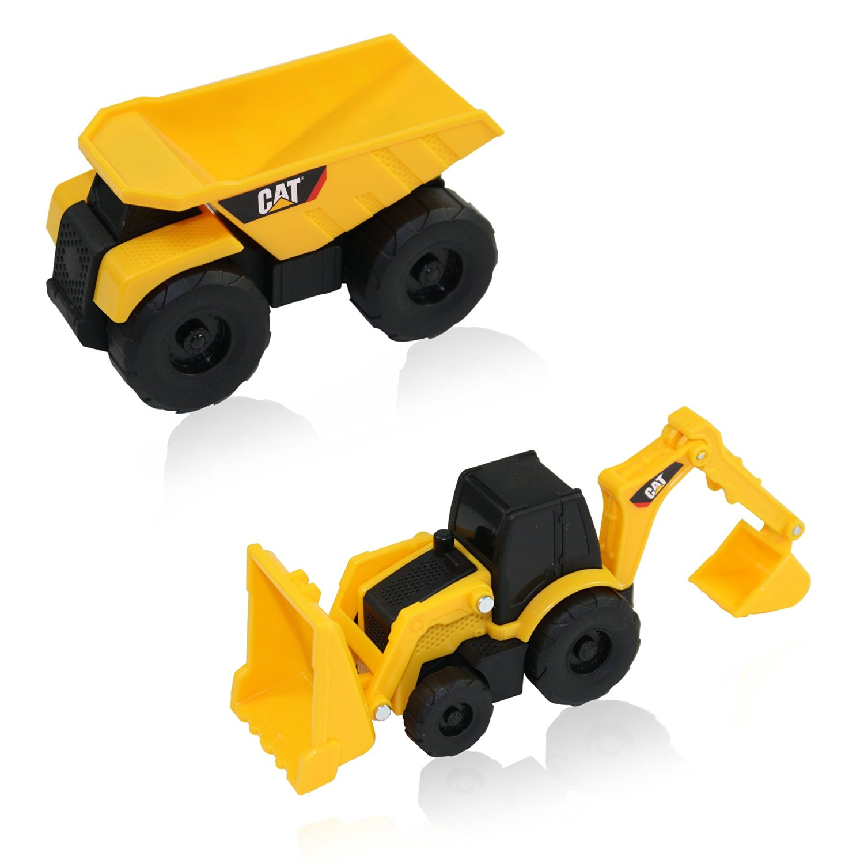 Wheel Loader and Excavator Free-Wheeling Vehicle Sand Box Toy Children Cake Toppers Party Favors Dump Truck Caterpillar CAT Mini Machine Construction Toy Truck Mini Machine Set of 4 Bulldozer