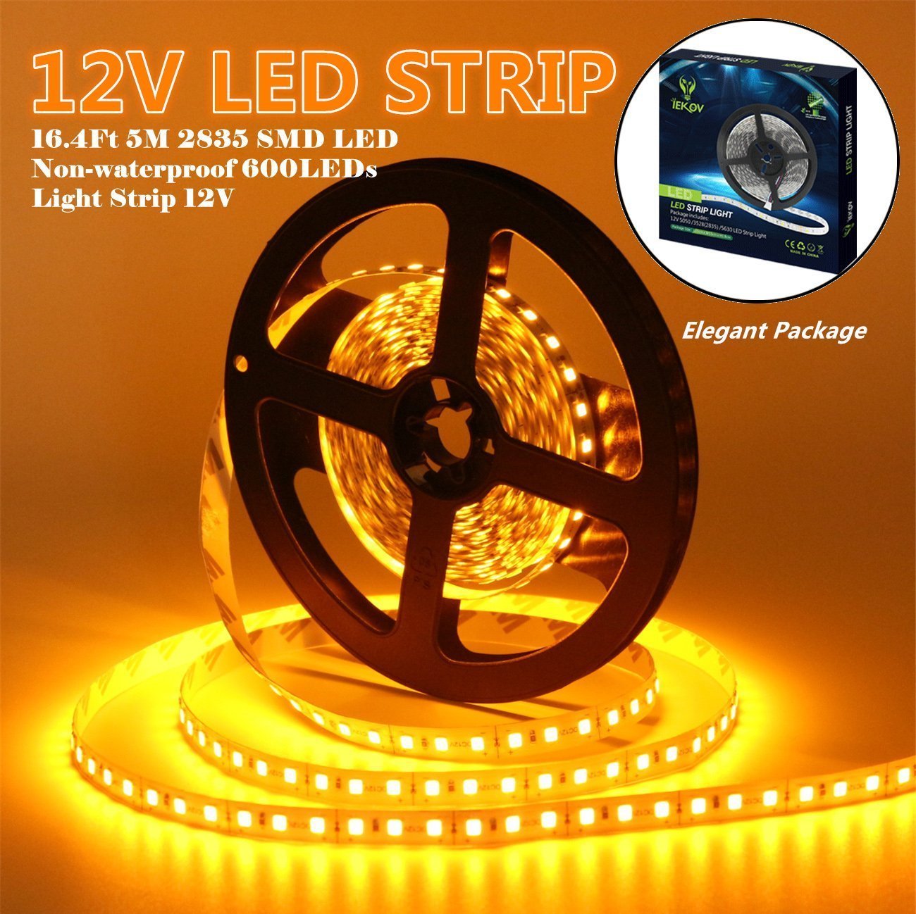 Led Strip Lights, IEKOV™ 2835 SMD 600LEDs Non-Waterproof Flexible Xmas Decorative Lighting Strips, LED Tape, 5M 16.4Ft DC12V, 3 times brightness than SMD 3528 LED Light Strip (Yellow)