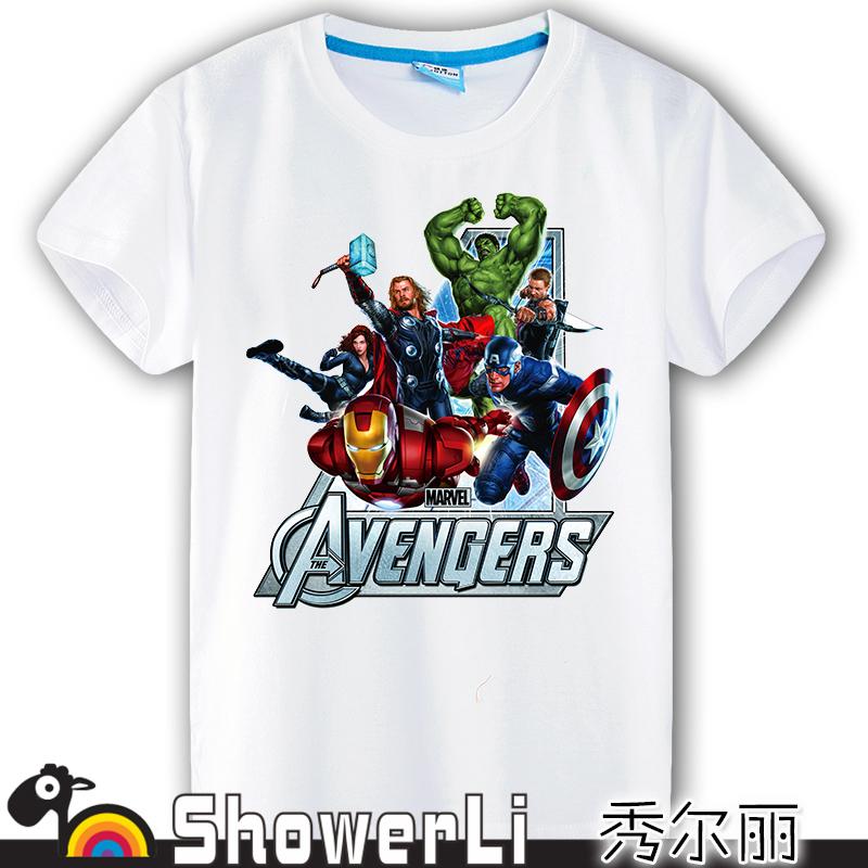 Cotton short sleeve big kids t shirts cute cartoon game big boy wear summer Avengers 2