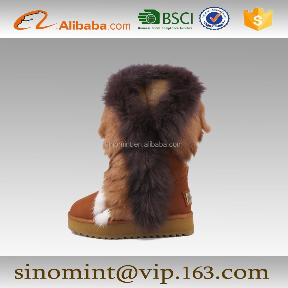 fashion over the knee boots for women with fox fur