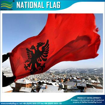 Aquila Bicipite Su Uno Sfondo Rosso Bandiera Albanese Buy Bandiera