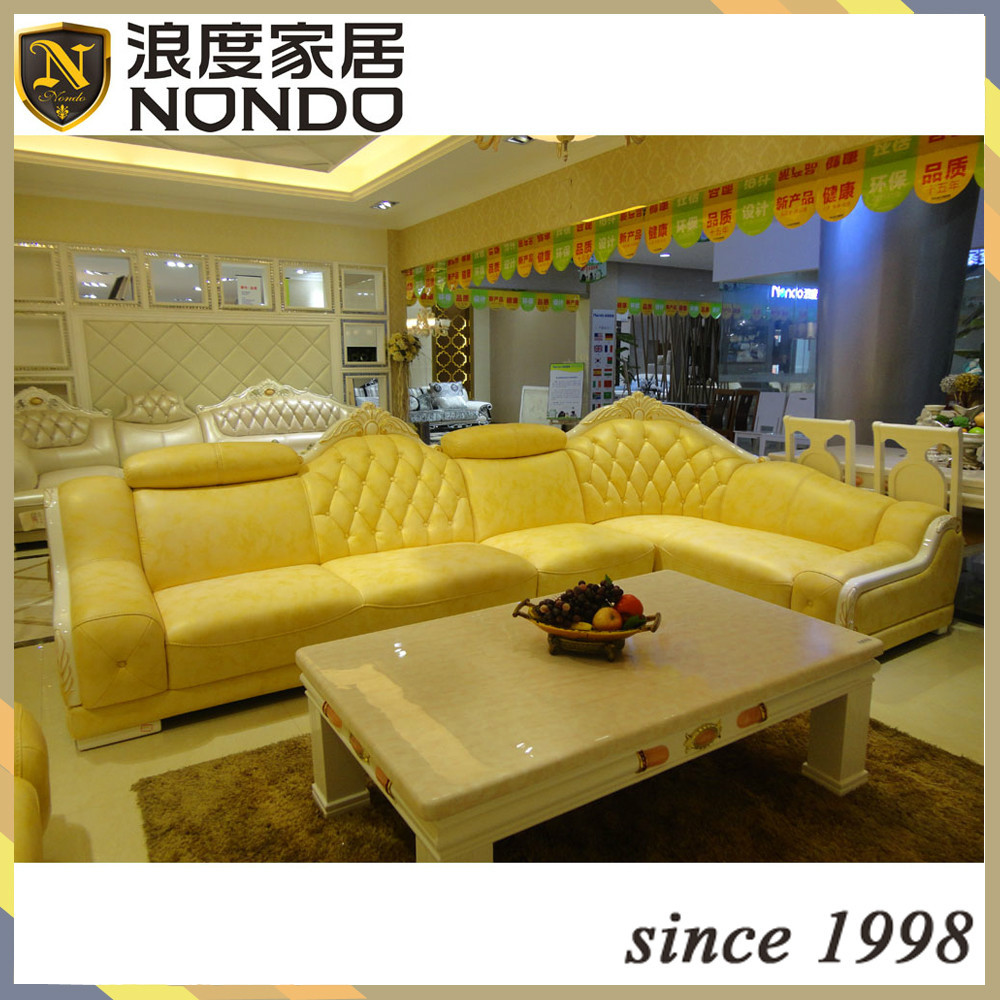Yellow leather sofa set modern yellow sectional sofa vg 4 - Yellow leather living room furniture ...