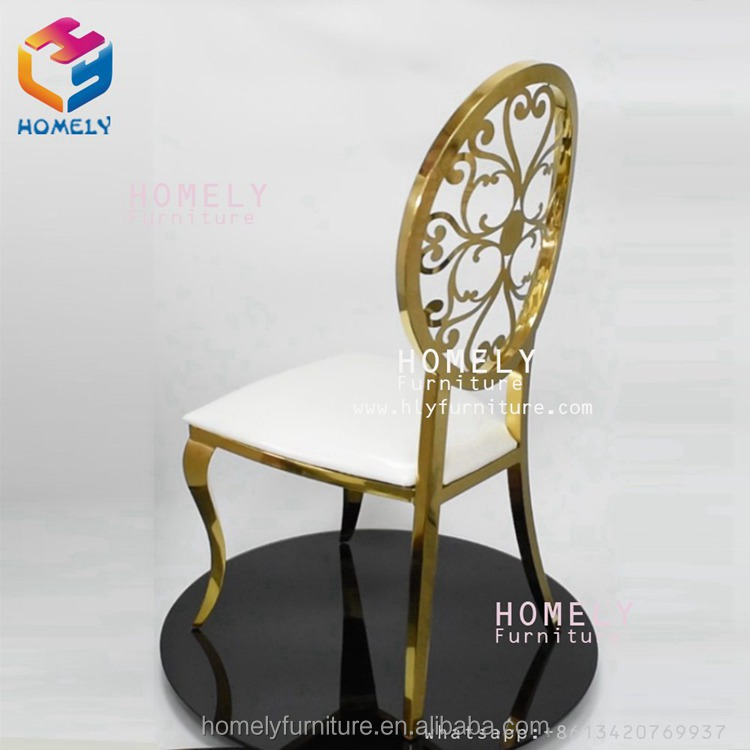 new design hotel hall party banquet hollow out royal back wedding modern leather chair stainless steel