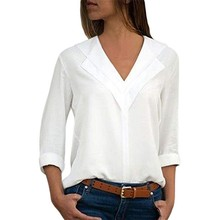Vrouwen <span class=keywords><strong>blouses</strong></span> solid lange mouwen meisje shirts Fashion Chiffon Solid Shirt Kantoor Dames Plain Roll Mouw dame Blouse Tops