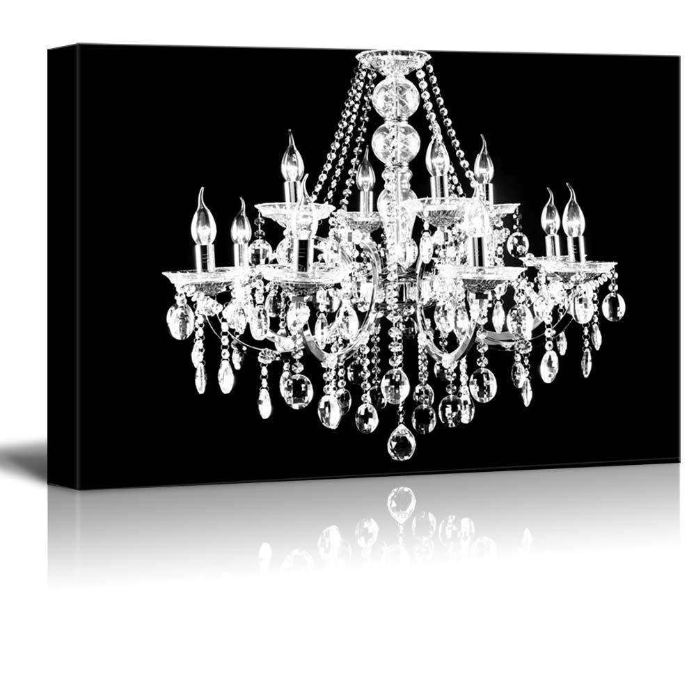 Get Ations Wall26 Canvas Wll Art Crystal White Chandelier On Black Background Giclee Print And