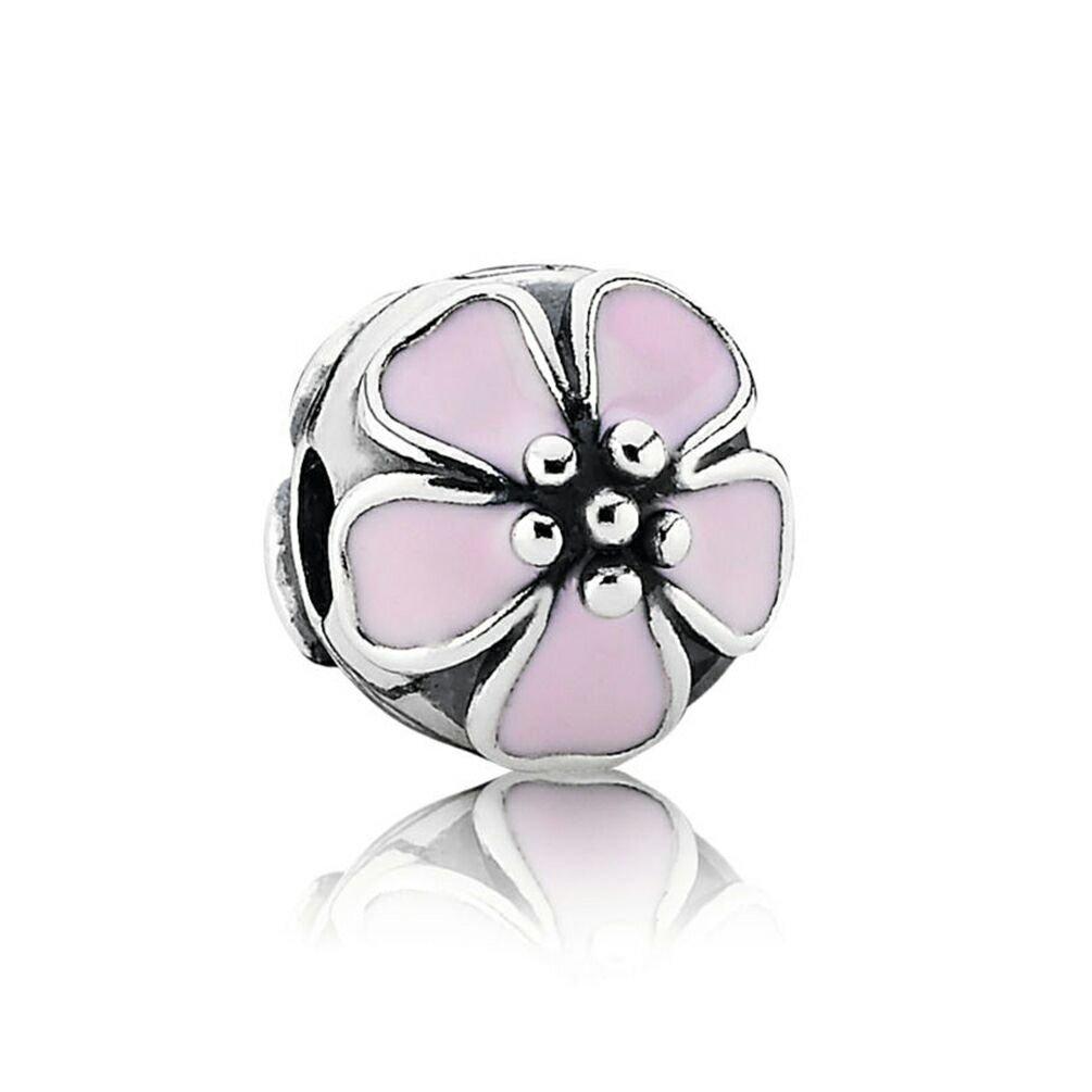 Pando Cherry Blossom Pink Enamel Silver Clip Charm,Pink