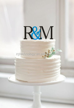 Customized Initial Cake Topper With Letter Couple Name Wedding Acrylic Toppers For Rustic